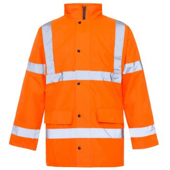 HI VIZ VIS VISIBILITY SECURITY WORK SAFETY PARKA WATERPROOF PADDED HOOD JACKET Orange