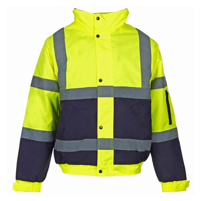 HI VIZ VIS VISIBILITY PADDED HOODED-Orange-Orange & Navy-Yellow Navy