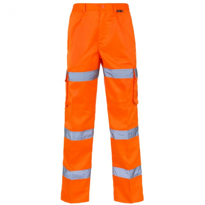 HI VIZ VIS 3 BAND COMBAT TROUSERS-3 Band Trousers Orange