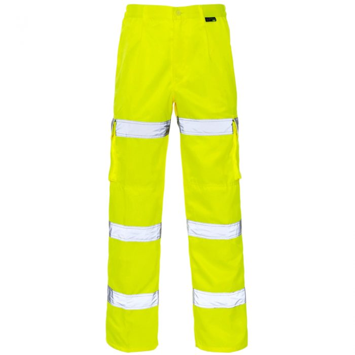 HI VIZ VIS 3 BAND COMBAT TROUSERS-3 Band Trousers Yellow
