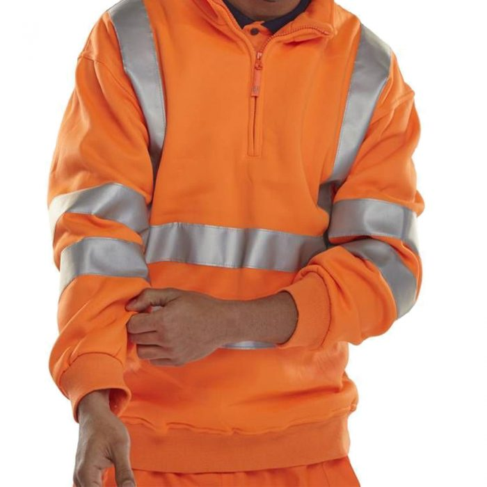 MENS HIGH VISIBILITY HALF ZIP SWEATSHIR-orange