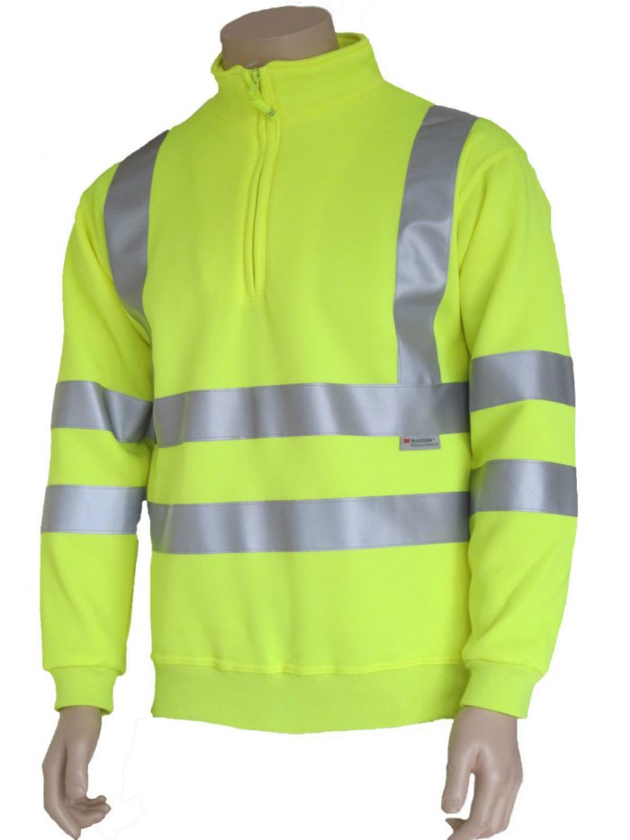 MENS HIGH VISIBILITY HALF ZIP SWEATSHIR-yellow