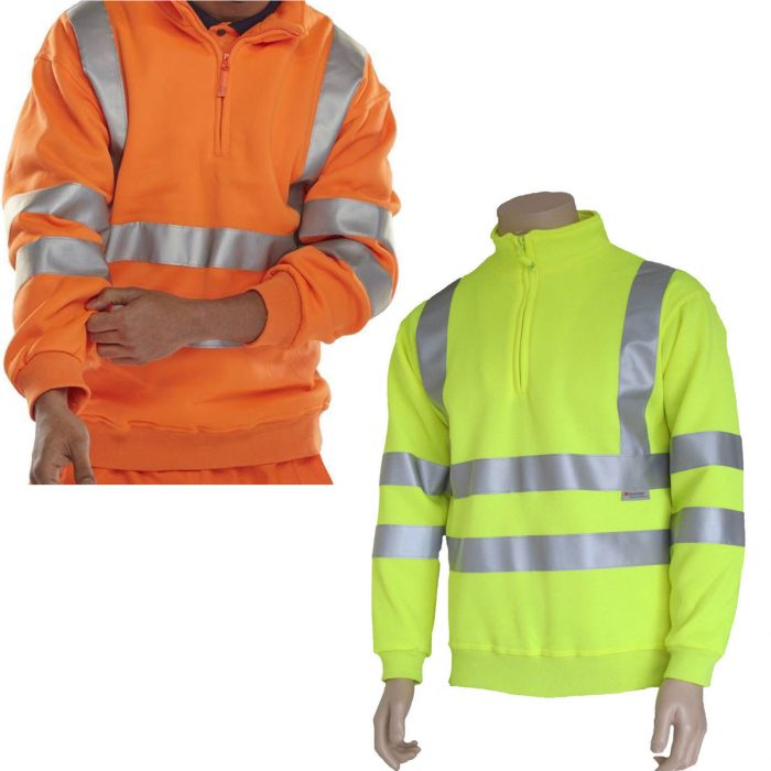 MENS HIGH VISIBILITY HALF ZIP SWEATSHIRT