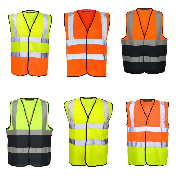HI VIZ VIS VISIBILITY WAISTCOAT JACKET-Vest orange 2017-Vest Orange Navy 2017-Vest orange yellow 2017-Vest yellow 2017-Vest Yellow Navy 2017-Vest yellow orange 2017