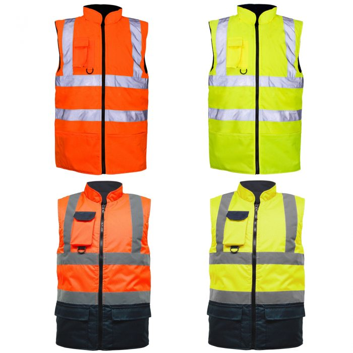HI VIS VIZ BODY WARMER VISIBILITY FLEECE REVERSIBLE WATERPROOF GILET WAISTCOAT
