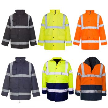 HI VIZ VISIBILITY PADDED PARKA HOODED JACKET