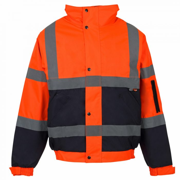 HI VIZ VIS VISIBILITY PADDED HOODED-Orange-Orange & Navy