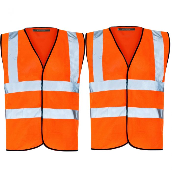 PACK OF 2 HI VIZ VIS VISIBILITY SECURITY WORK CONTRACTOR VEST WAISTCOAT JACKET-Orange2