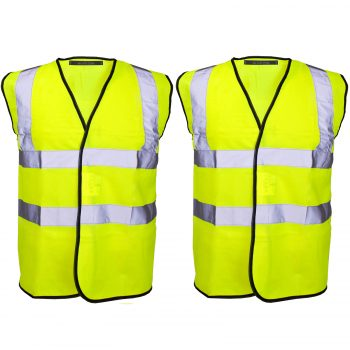 PACK OF 2 HI VIZ VIS VISIBILITY SECURITY WORK CONTRACTOR VEST WAISTCOAT JACKET YELLOW