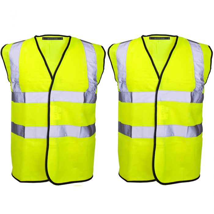 PACK OF 2 HI VIZ VIS VISIBILITY SECURITY WORK CONTRACTOR VEST WAISTCOAT JACKET-YELLOW