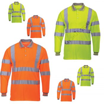 HI VIZ VIS VISIBILITY POLO LONG SLEEVE T-SHIRT