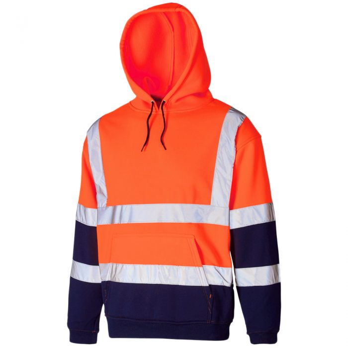 HI VIS VIZ HOODED SWEATSHIRT-HOODED Sweatshirt Orange Navy