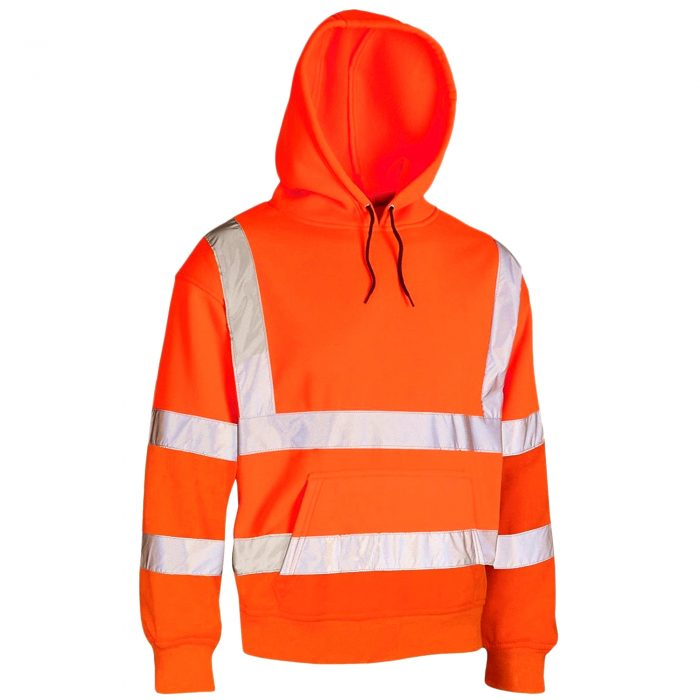 HI VIS VIZ HOODED SWEATSHIRT-HOODED Sweatshirt -Sweatshirt Orange HOODED