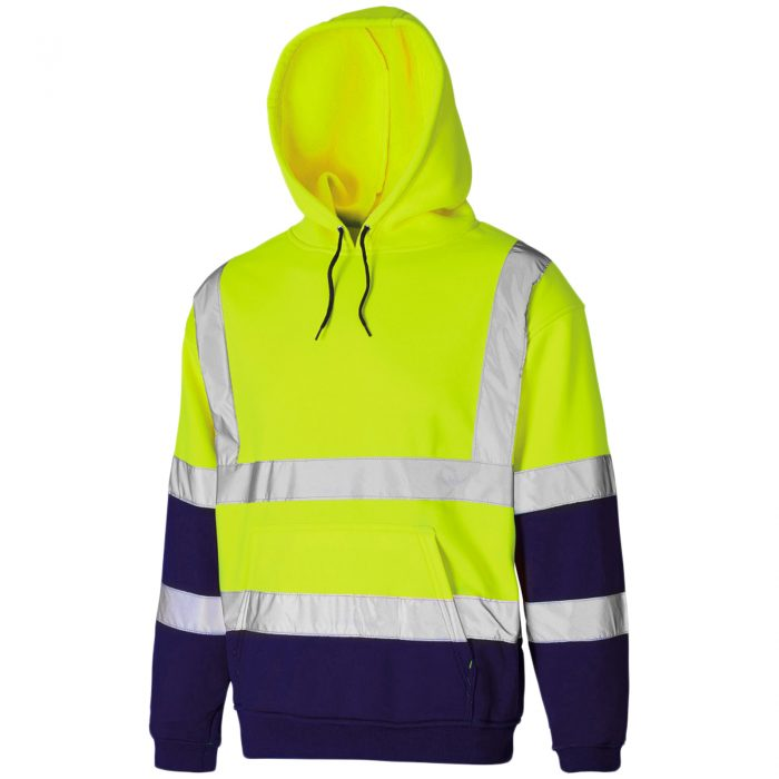 HI VIS VIZ HOODED SWEATSHIRT-HOODED Sweatshirt -Sweatshirt HOODED-Sweatshirt-Yellow Navy