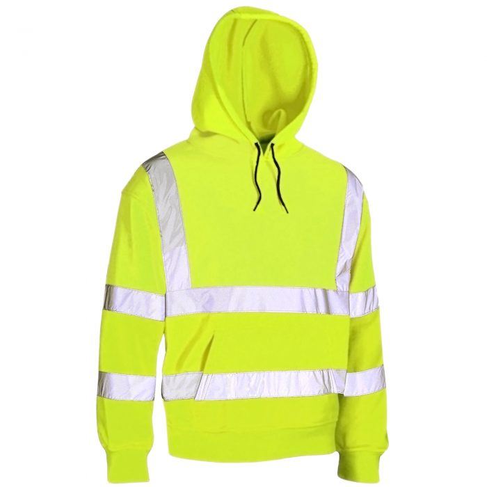 HI VIS VIZ HOODED SWEATSHIRT-HOODED Sweatshirt -Sweatshirt HOODED-Sweatshirt-Yellow