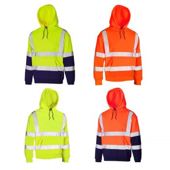 HI VIS VIZ HOODED PULL OVER SWEATSHIRT