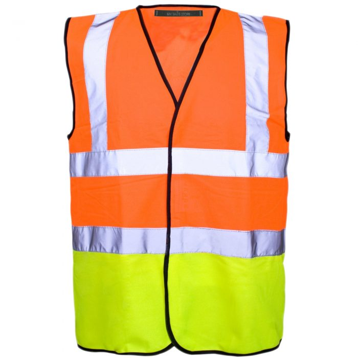 HI VIZ VIS VISIBILITY WAISTCOAT JACKET-Vest orange 2017-Vest Orange Navy 2017-Vest orange yellow 2017