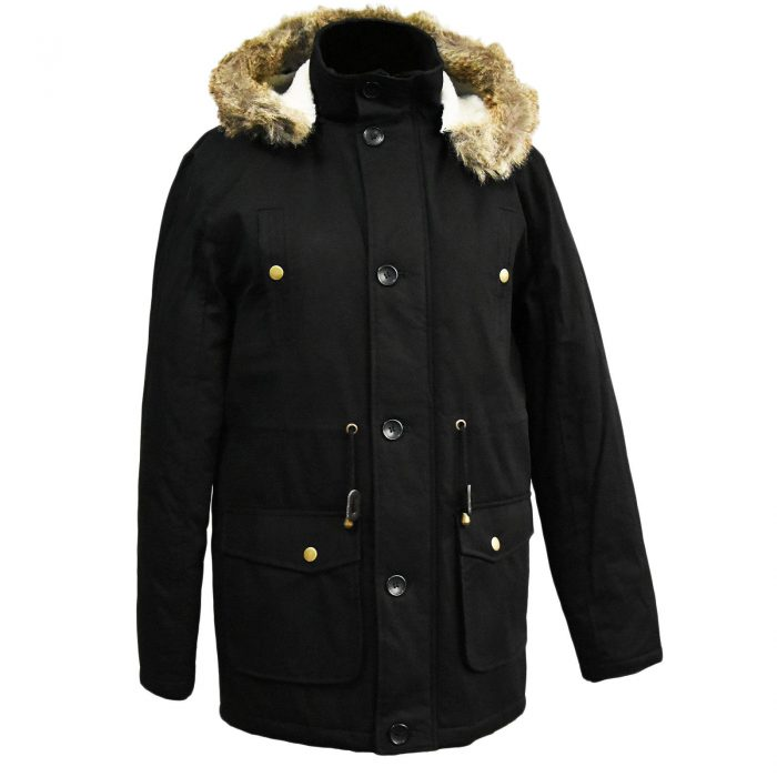 MENS PARKA JACKET FISHTAIL PARKER FUR HOOD WINTER QUILTED PADDED WARM COAT S-3XL-Black