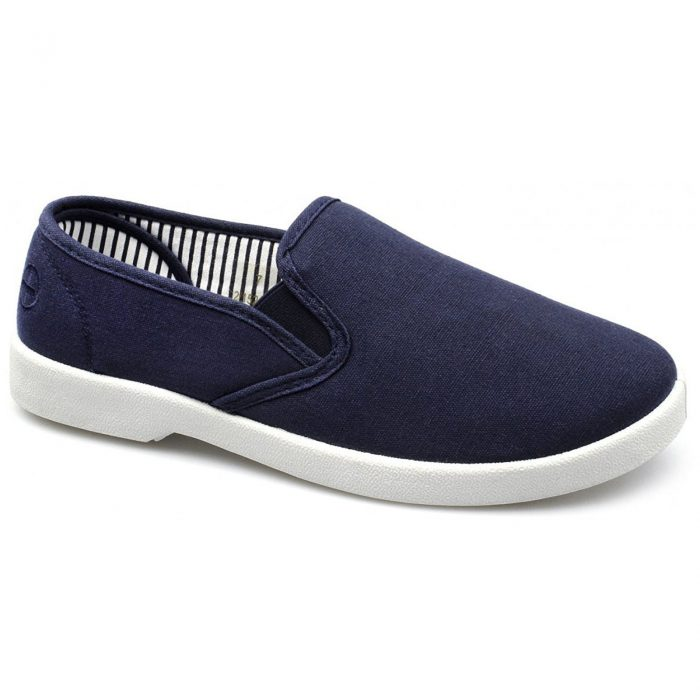 New Dr Keller Mens Canvas Shoes Wide Fit Deck Pumps Padded Plimsolls Espadrilles-Myshoestore-navy