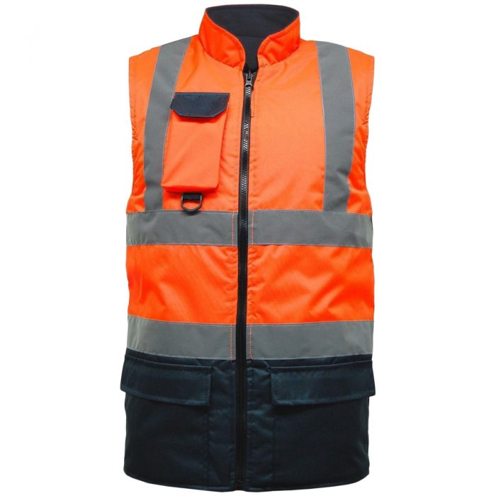 HI VIS VIZ BODY WARMER VISIBILITY FLEECE REVERSIBLE WATERPROOF GILET WAISTCOAT-orange-navy-bodywarmer