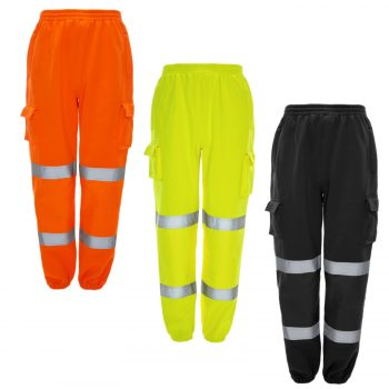 HI VIZ VIS JOGGING BOTTOMS THICK TROUSERS