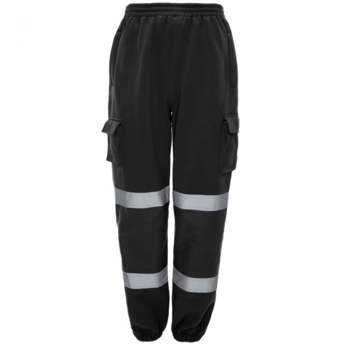 HI VIZ VIS JOGGING BOTTOMS THICK TROUSERS BLACK