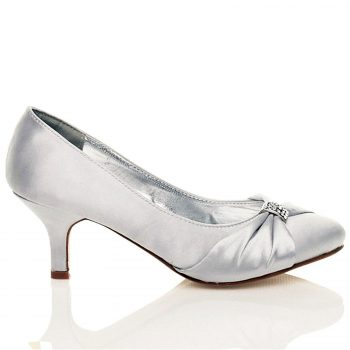 WOMENS BRIDAL SHOES LADIES WEDDING BRIDESMAID STILETTO LOW KITTEN MID SATIN HEEL Silver