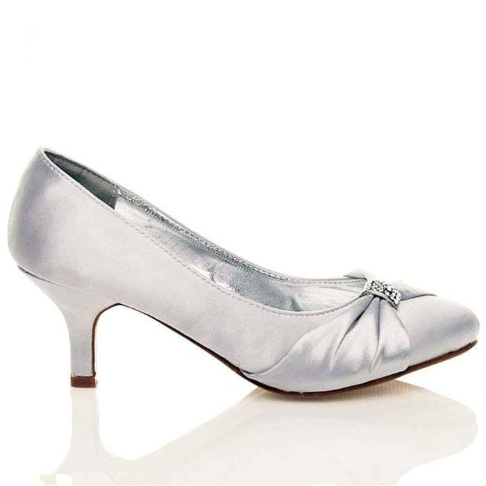 WOMENS BRIDAL SHOES LADIES WEDDING BRIDESMAID STILETTO LOW KITTEN MID SATIN HEEL-Silver
