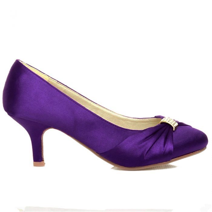 WOMENS BRIDAL SHOES LADIES WEDDING BRIDESMAID STILETTO LOW KITTEN MID SATIN HEEL-Purple