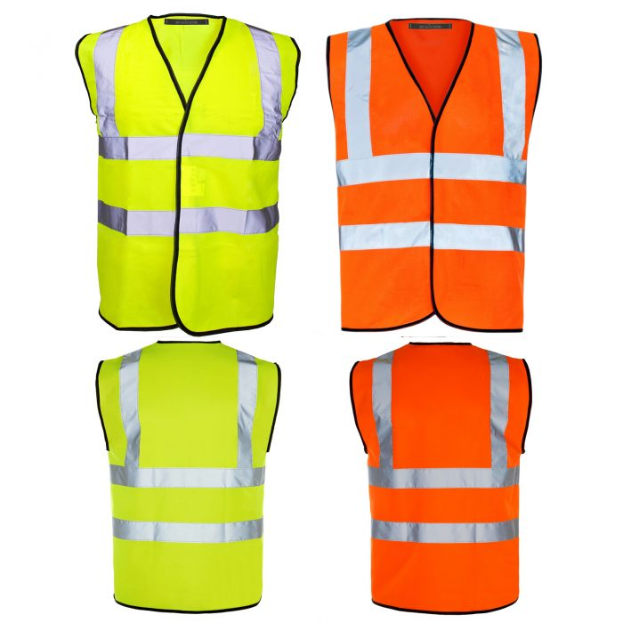 PACK OF 2 HI VIZ VIS VISIBILITY SECURITY WORK CONTRACTOR VEST WAISTCOAT JACKET