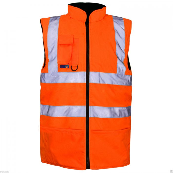 HI VIS VIZ BODY WARMER VISIBILITY FLEECE REVERSIBLE WATERPROOF GILET WAISTCOAT-orange-bodywarmer