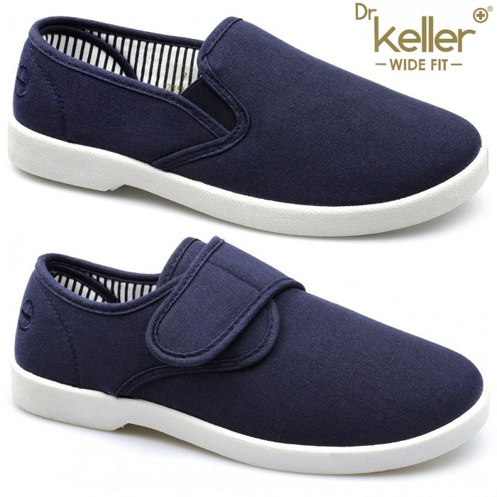 New Dr Keller Mens Canvas Shoes Wide Fit Deck Pumps Padded Plimsolls Espadrilles