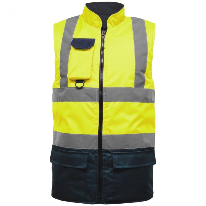 HI VIS VIZ BODY WARMER VISIBILITY FLEECE REVERSIBLE WATERPROOF GILET WAISTCOAT-yellow-navy-bodywarmer
