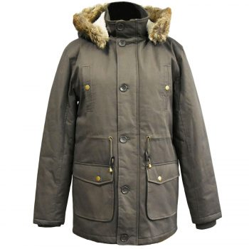 MENS PARKA JACKET FISHTAIL PARKER FUR HOOD WINTER QUILTED PADDED WARM COAT S 3XL Khaki