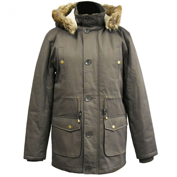 MENS PARKA JACKET FISHTAIL PARKER FUR HOOD WINTER QUILTED PADDED WARM COAT S-3XL-Khaki