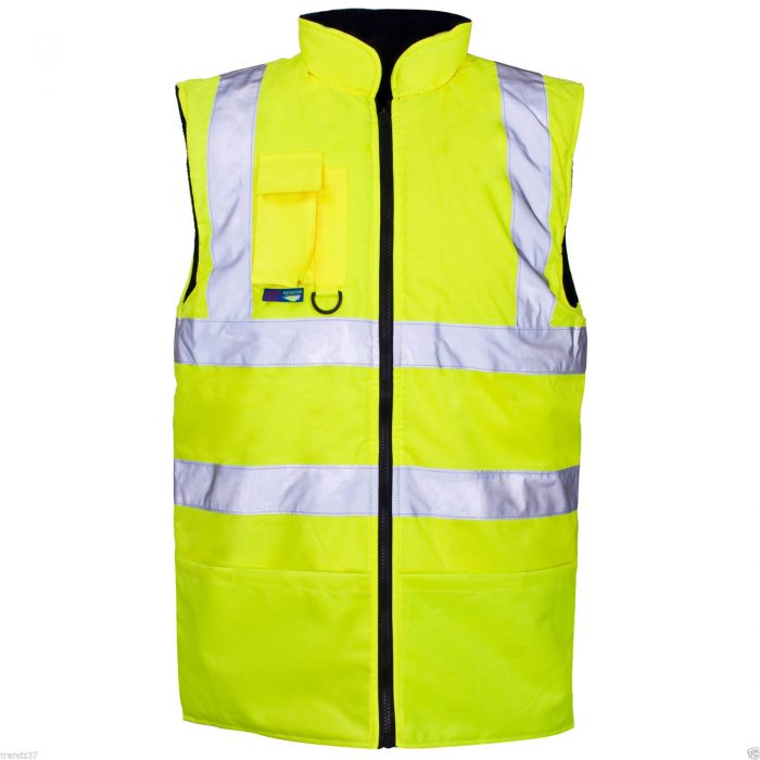 HI VIS VIZ BODY WARMER VISIBILITY FLEECE REVERSIBLE WATERPROOF GILET WAISTCOAT-yellow-bodywarmer