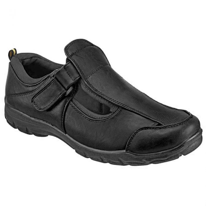 DR KELLER MENS WIDE FIT SANDALS LIGHTWEIGHT SUMMER CLOSED TOE VELCRO CASUA-shoe-black-1