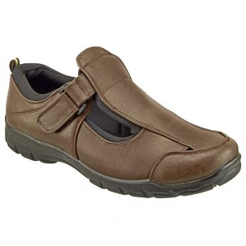 DR KELLER MENS WIDE FIT SANDALS LIGHTWEIGHT SUMMER CLOSED TOE VELCRO CASUA Shoe Brown 1