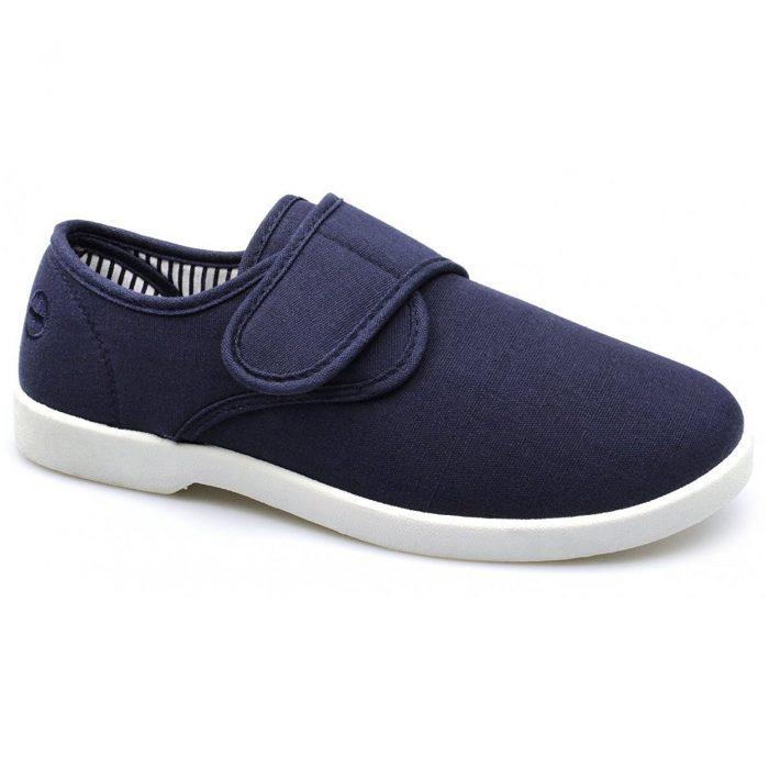 New Dr Keller Mens Canvas Shoes Wide Fit Deck Pumps Padded Plimsolls Espadrilles-Myshoestore-navy-rob