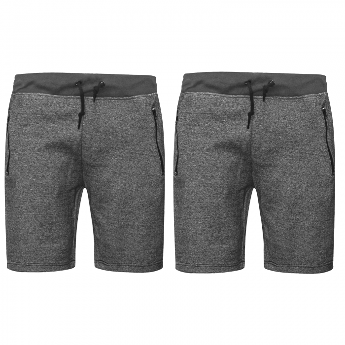 2 PACK MENS JOGGING SWEAT COMFY SHORTS-GREY