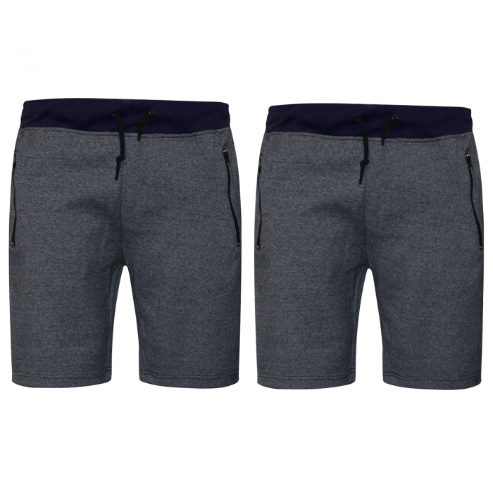 2 PACK MENS JOGGING SWEAT COMFY SHORTS-NAVY