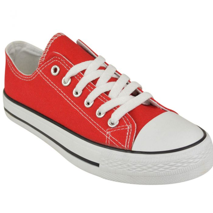 LADIES WOMENS GIRLS CANVAS LACE UP PLIMSOLLS PUMPS SNEAKER TRAINER SKATER SHOES-red