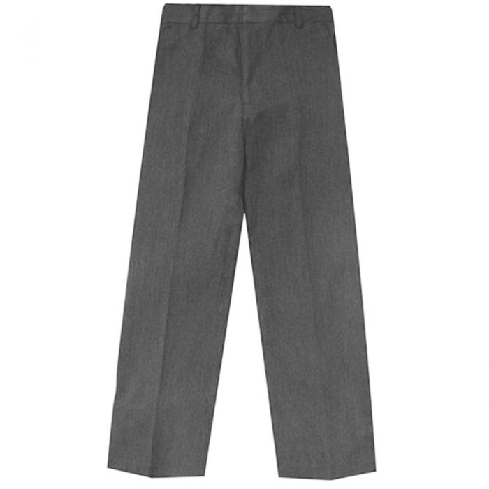 BOYS KIDS SCHOOL UNIFORM ADJUSTABLE  HALF ELASTICATED WAIST TROUSER-Grey