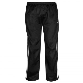 Boys TRACKSUIT BOTTOMS SILKY JOGGERS JOGGING STRIPED TROUSERS  Silky Pants Black