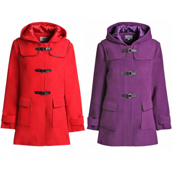 LADIES DUFFLE WOOL BUCKLE FASTENING COAT