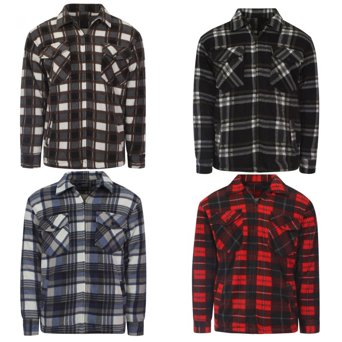 MENS PADDED SHIRT FUR LINED LUMBERJACK FLANNEL WORK JACKET WARM THICK CASUAL TOP-Collered-Jacket