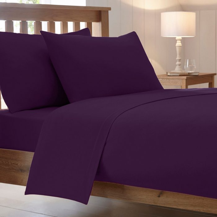 BED SHEET AND BEDDING PILLOW CASES-Aubergine