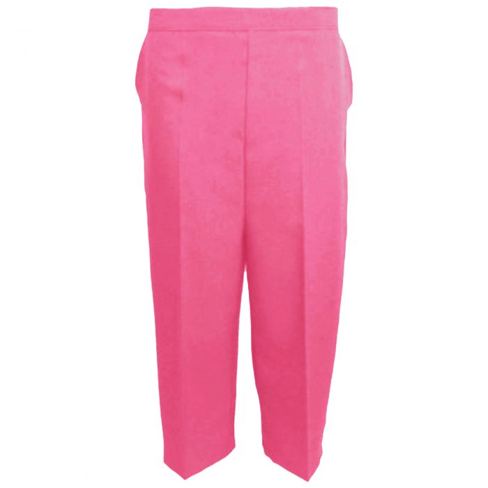 Ladies Womens 3/4 Three Quarter Length Trousers Capri Cropped Crop Plain Pants-Fuchsia