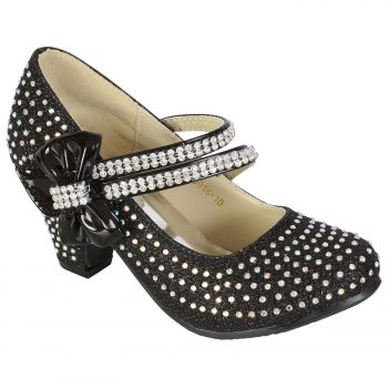 Girls Diamante Shoes 2016 Black Bow