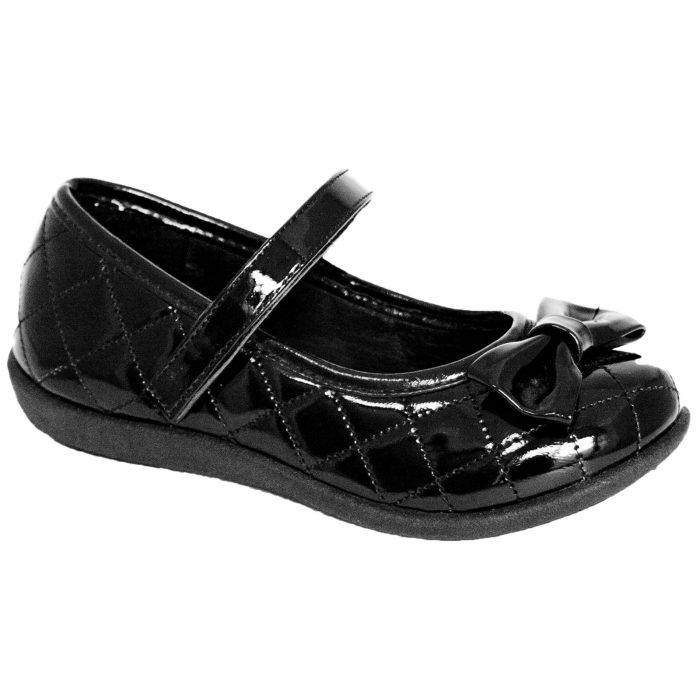 Girls school shoes Patent Bow 1